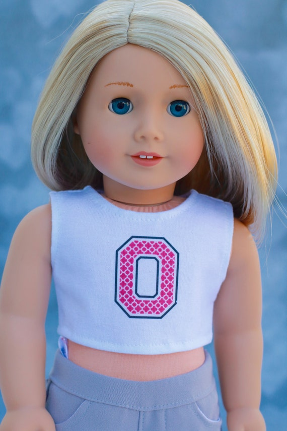 American Made Doll Clothes | OSU Ohio Buckeye CROP TOP for 18 inch doll such as American Girl Doll