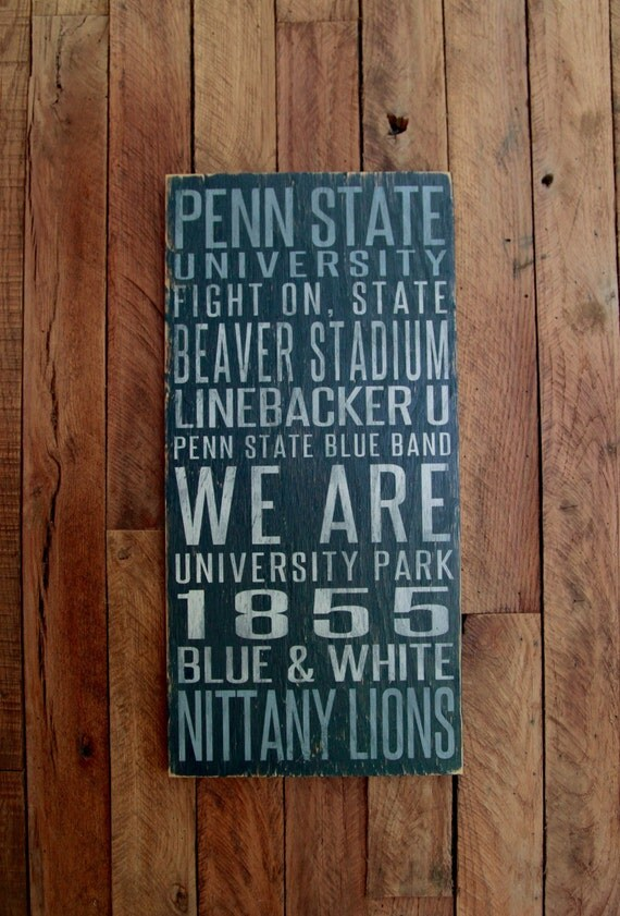 Penn State Nittany Lions Distressed Wood Sign--Great Father's Day Gift!