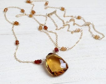 Ombre Hessonite Garnet Station Necklace with Huge, Faceted Whiskey Quartz in 14k Gold Fill, Extra Long Chain, Opera Length Gemstone Necklace