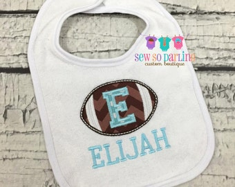 Personalized Football Bib - Baby Boy Bib - monogrammed bib - personalized bib - Football baby bib