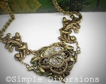 Time Basket Steampunk Chimaeras Necklace Double Dragons Griffins Vintage Watch Movements Gothic Victorian  Renaissance Simple Diversions