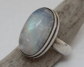 Sterling silver and moonstone ring / healing gemstone jewelry / Healing moonstone crystal / sterling silver ring with large moonstone