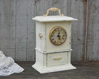 Clock, Shabby Chic, Ivory, Gold, French Decor, Hand Painted, Wood, Distressed, Upcycled, Decorative, Wedding Decor, Nursery Decor, Cottage
