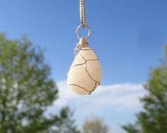 White stone pendant/Wire wrapped white stone pendant/White stone necklace/Wire wrapped jewelry/Wire wrapped pendant/Wire wrapped stone