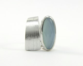 Blue chalcedony ring in sterling silver Wide band ring Pastel jewelry Blue gemstone band ring Asymmetrical ring Edgy jewelry
