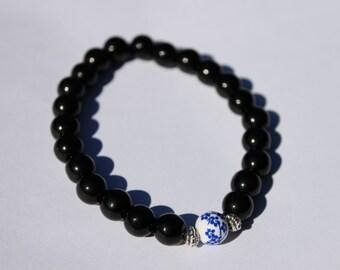Black Glass Beaded Bracelet, Made to Order