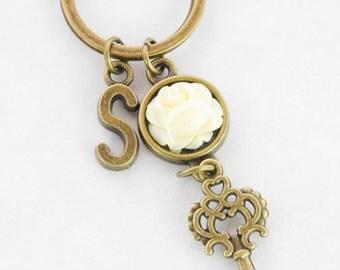 Skeleton Key Ring Antique Key Gift Housewarming Gift New House Keychain First House Keyring Personalize Home Key Chain Personalized Keychain