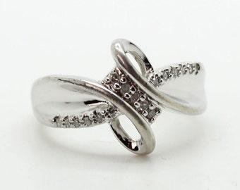 Sterling Silver Pave DIAMOND RING-Sun Designer-Engagement-Promise-Left Hand Ring-MODERNIST - Size 7