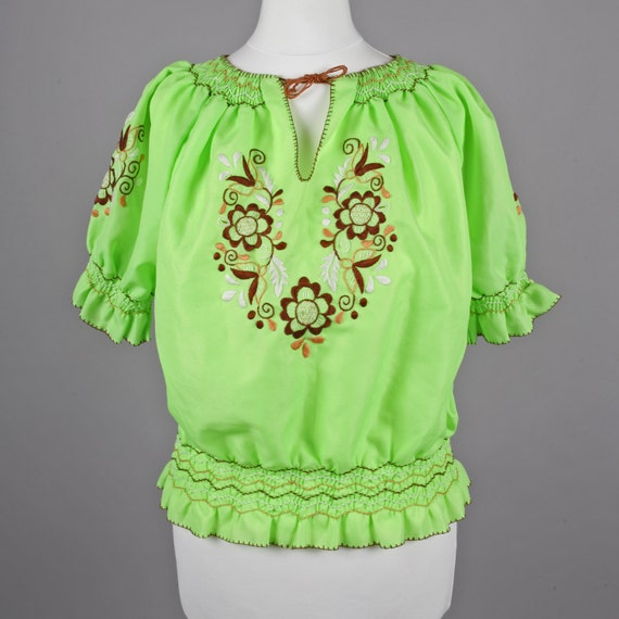 Green Peasant Blouse 111