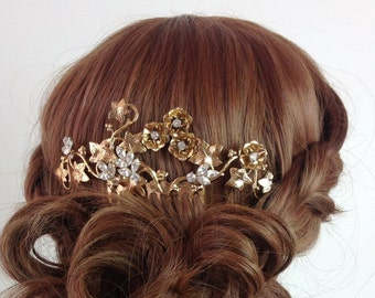 Bridal Headpiece - Gold leaf and flowers wedding hair comb in 18K gold, Mantilla style hair comb, - Ready to ship