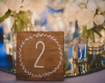 Timber/ Wooden Wedding 'Laurel' Table Numbers - 5 numbers