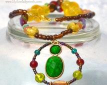 Lakshmi Hindu Goddess of Prosperity Necklace, Pagan Prayer Beads, Upcycled Pendant, Vintage German Acrylic, Carnelian, Rainbow Bracelet Set