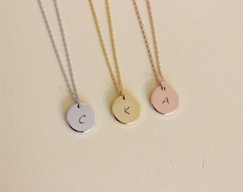 Gold initial Disk necklace, Silver initial necklace, Bridesmaid Gift, dainty letter necklace, delicate necklace, gift for friend, rose gold