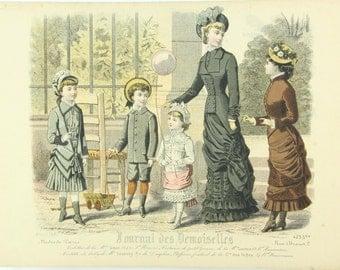 Journal des Demoiselles Paris, antique French Fashion print, 1880s victorian dresses, crinolines