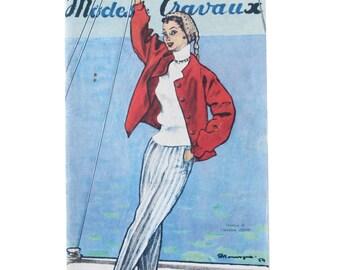 Modes & Travaux, Vintage French fashion magazine,  1954 fashion news, Dior design