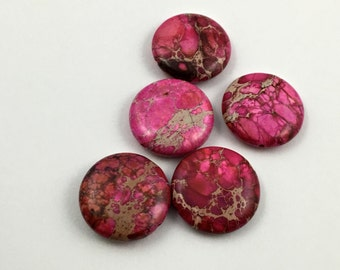 5 pink crazy lace agate stone beads/ 25mm #PP066