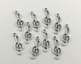 10 music note charms antique silver,25.5mm  # CH 066