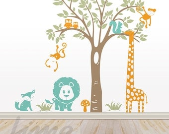 Jungle Wall Decal - Jungle decals - Nursery Zoo Decal A0035