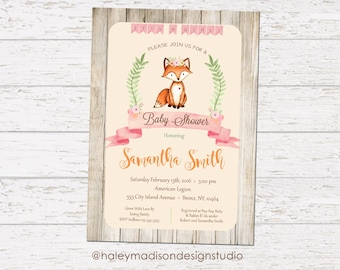 Fox Baby Shower Invitation, Rustic, Whimsical, Girl Fox Baby Shower Invitation, Floral Fox Invitation, DIGITAL FILE