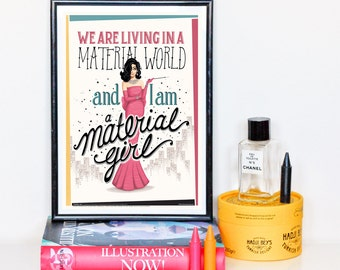 Material Girl Music Poster, Vintage Typography Lyrics Art Print, Pop Song Illustration, Song Lyrics Calligraphy Art, Creative Gift for Her