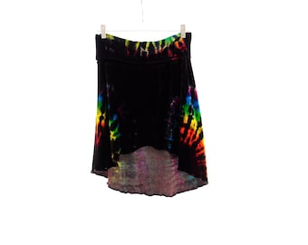 Home Sewn Flowy Skirt, Organic Bamboo Velour Hippie Skirt, Soft Organic Clothing, OOAK Rainbow Skirt