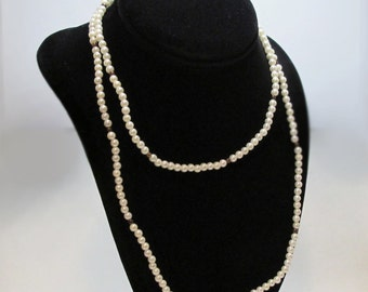 Vintage 1990s 35 Inch White Simulated Pearl Bead Necklace Jewelry for Women