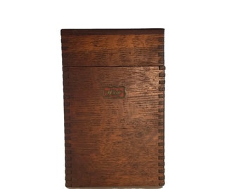 Antique Wooden Weiss Recipe File Box - Vintage Index Card File Box
