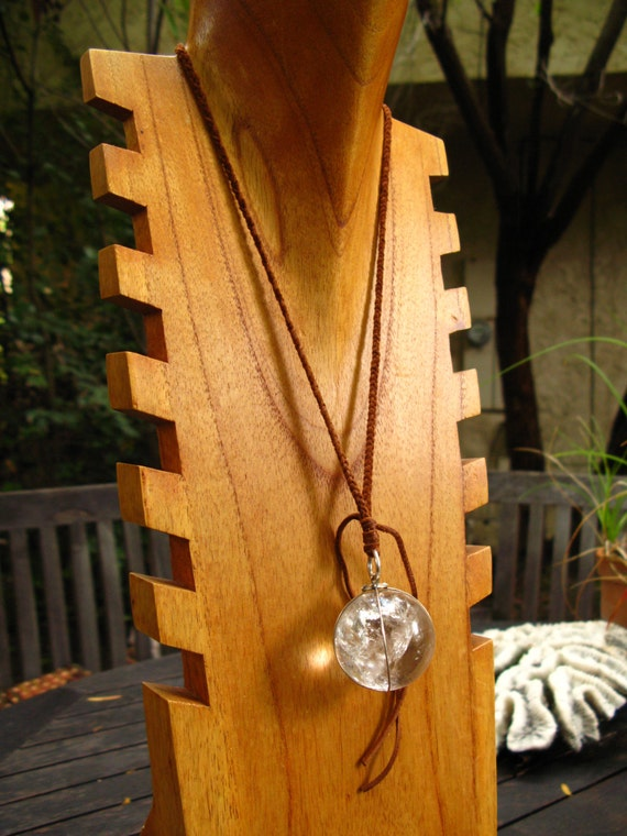 Leather and Crystal Ball Pendant