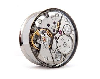 Steampunk Plug Earring  - Gears In Your Ears. 24mm /  just under 1 inch gauge.