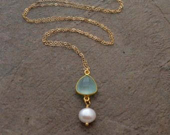 Aqua Chalcedony and Freshwater Pearl Necklace - Chalcedony Pendant Necklace - Chalcedony and Pearl Necklace