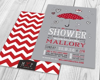 Whimsical Bridal Shower Invitation, Grey, White, Black & Red