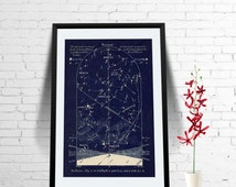 Stars Map Print Eastern Sky June Constellations Celestial Chart