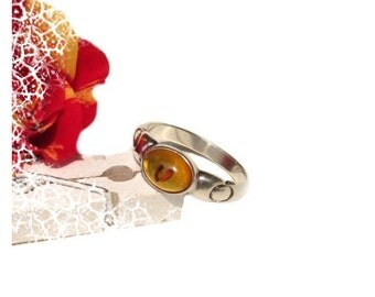 54 silver amber ring sterling silver amber ring US size 6,8