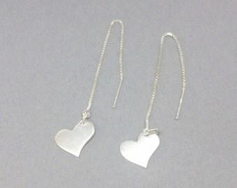 Sterling Silver Long Threader Chain Heart Earrings, Long Dangle Earrings, Long Chain Earrings, Heart Charm Earrings, Silver Long Earrings