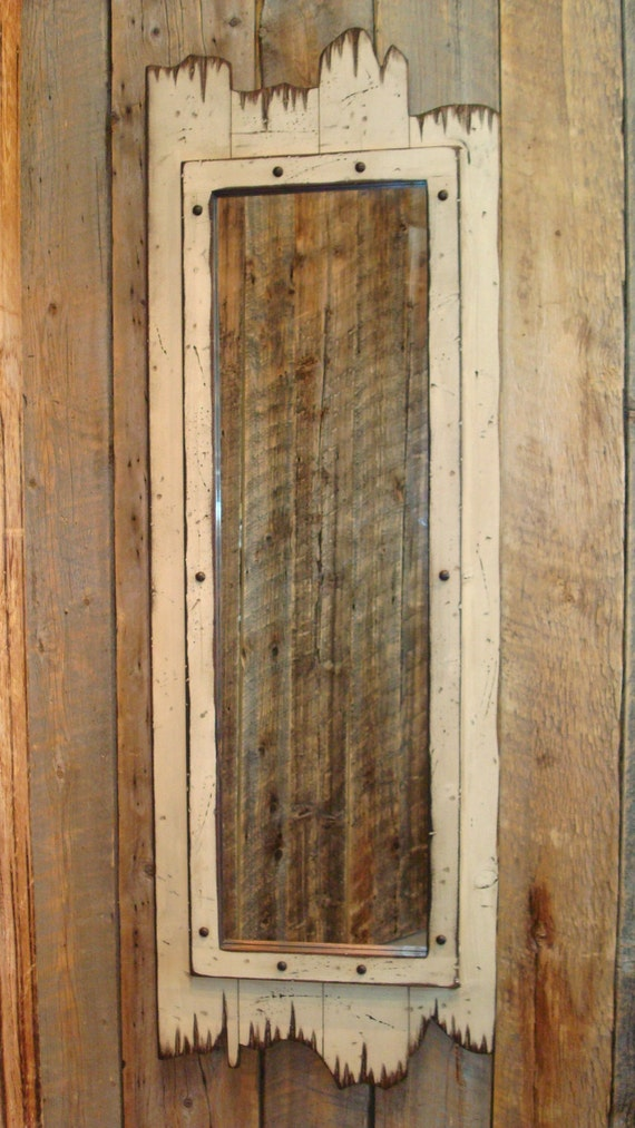White full length barnwood mirror 60 x 22 made of real pine for Mirror 120 x 60