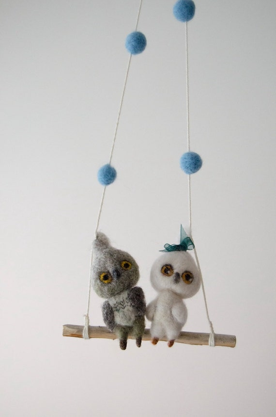 items similar to owl birds baby mobile needlefelted owl nursery mini mobile nursery decor for. Black Bedroom Furniture Sets. Home Design Ideas