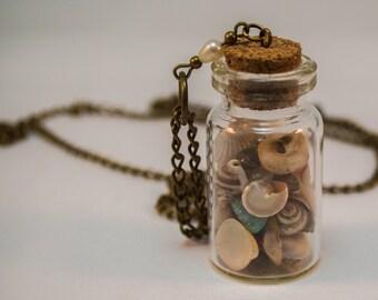 Little Bottle Antique Bronze Long Necklace, Glass Bottle Necklace, Cute Necklace, Little Bottle With Seashells Pendant