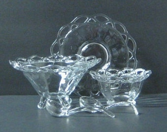 Vintage Heisey Glass Condiment Set 3 Piece, Lace Edge, Clear Paneled Glass, Footed Bowls Serving Set Heisey