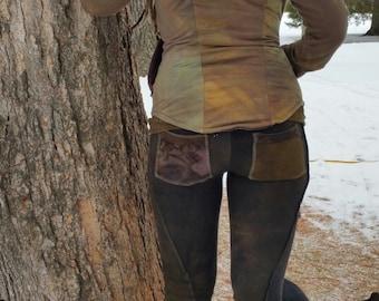 Wildhorse leggings Hand dyed bamboo terry bootcut leggings pocket leggings custom yoga Eco friendly
