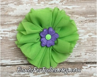 Lime Green Chiffon Flower Hair Clip, Green and Purple Flower Hair Bow, Chiffon Flower Alligator Clip, Toddler Girls Hair Clip, Flower Clip
