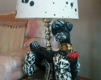 Vintage 1960s Handmade Poodle Lamp Art Brut Outsider Art Kitsch Dog Light