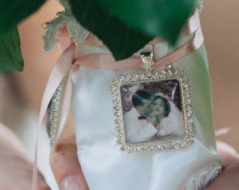 DIY Wedding Bouquet Photo Memory charm - Photo Pendants charms  Rhinestone Square - Everything you need Great gift for Bride