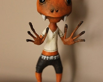 DICK creature orange OOAK DOLL KriSoft