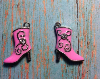 Pink Cowgirl Boot Charms with Crystal 2-sided, 3D
