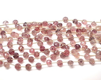 Rare-AAA 10 Inch 8-9mm Natural Cherry Quartz MicroFaceted Onion Briolette Beads Strand-14 Beads/Strand(0955)