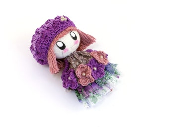 CUTE BROOCH - Pauline made to order jewelry gift rag doll birthdaybeige purple