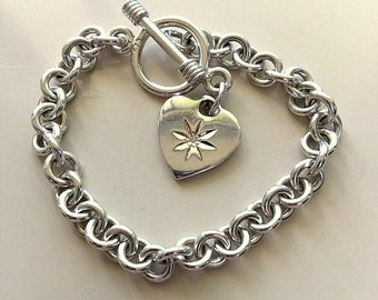 Diamond Heart Charm Bracelet  7 1/4 Inches  30.42 Grams Vintage Sterling Silver Link Bracelet With Heart Charm