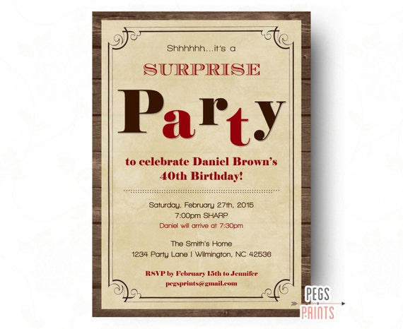 surprise birthday invitations for men surprise birthday party
