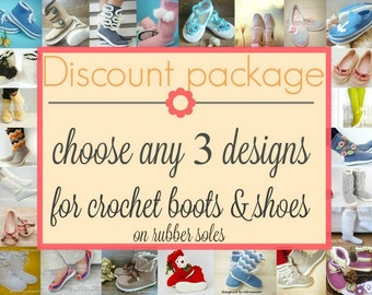 DISCOUNT PACKAGE- crochet boots pattern, choose any 3 patterns, crochet boots for outdoor, crochet shoes for outdoor