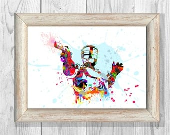ROBOCOP Poster Watercolor Print Art Print Giclee Wall Illustrations Art Print 8x10 Wall Decor  Home Decor No32
